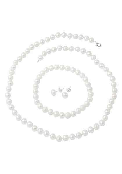 firetti Schmuckset: Kette, Armband und Ohrstecker mit Perlen (4tlg.)