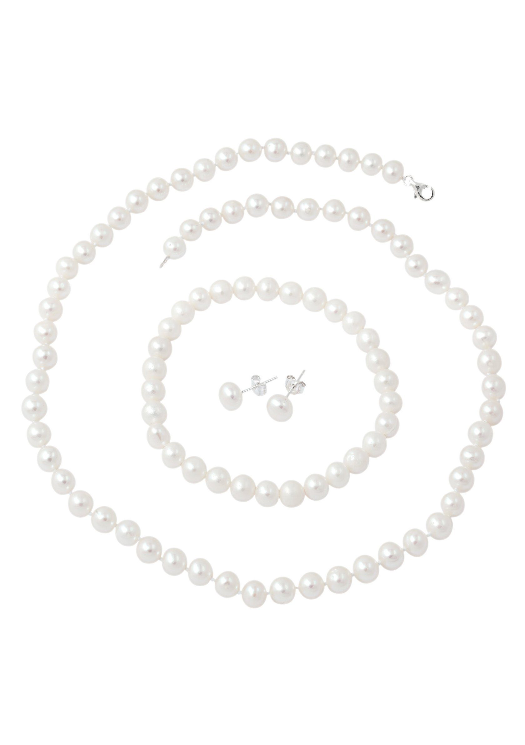 Firetti Schmuckset (Set, 4 tlg) mit Kristallsteinen und Süßwasserzuchtperlen, Kette, Armband und Paar Ohrstecker