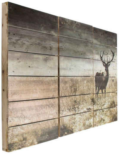 Art for the home Holzbild »Woodland Stag«, Hirsche (3 Stück)