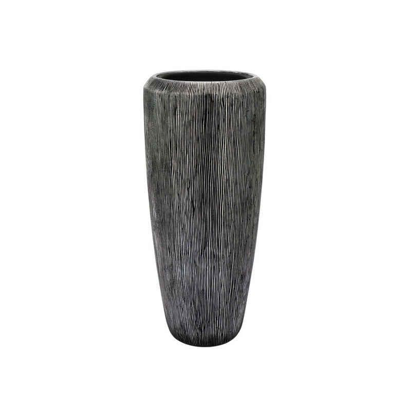 Flingora Bodenvase »Esmee«, mit Einsatz - Fiberglas Pflanzvase - Indoor - Rillenstruktur Silber - Höhe 75 cm / Ø 34 cm