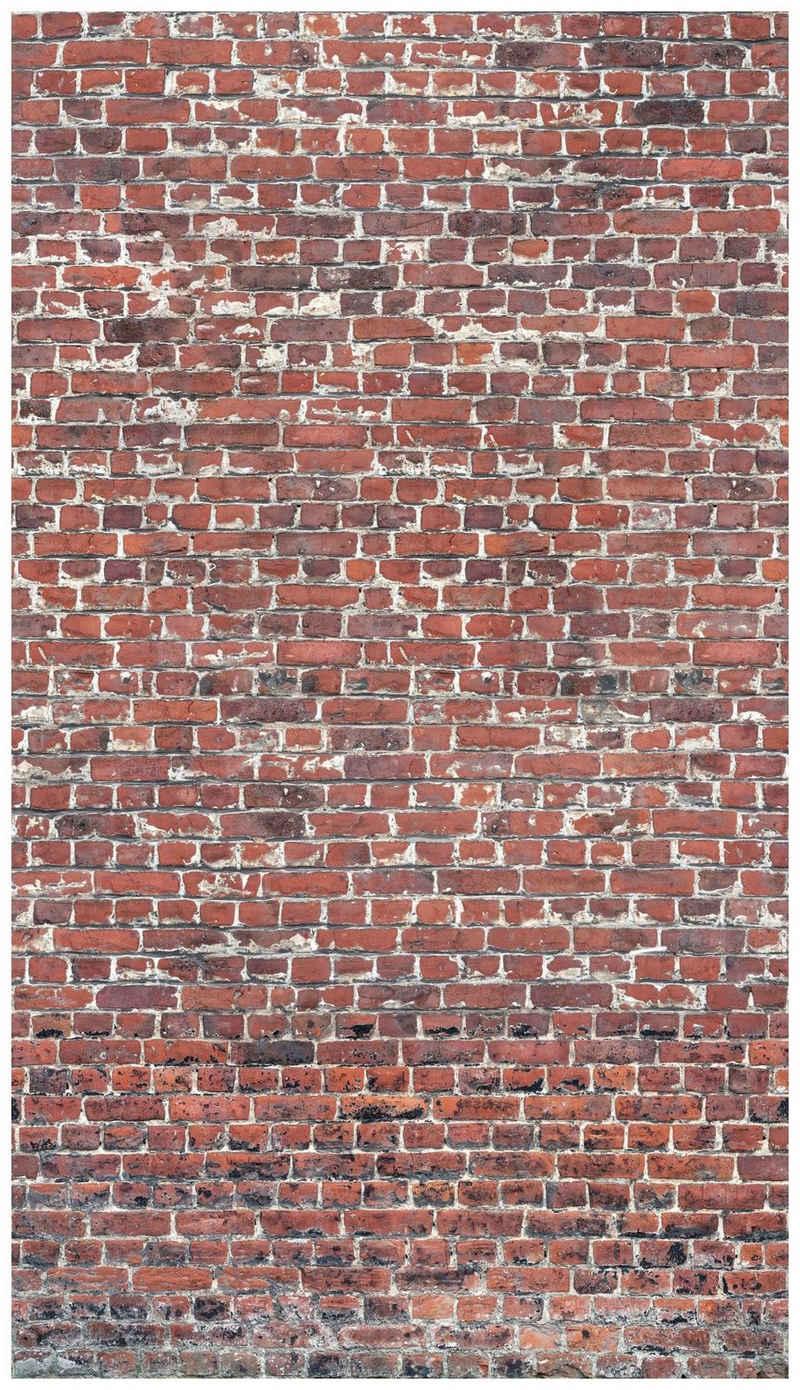 Bodenmeister Fototapete »3d Effekt Steinwand Vintage rot«