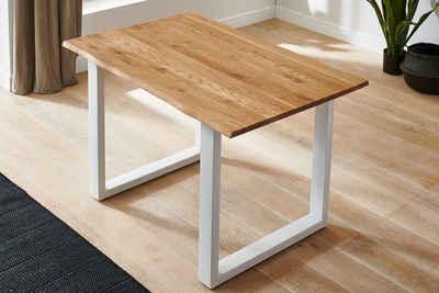 Junado® Baumkantentisch »Sessa«, Wildeiche Massivholz natürliche Baumkante