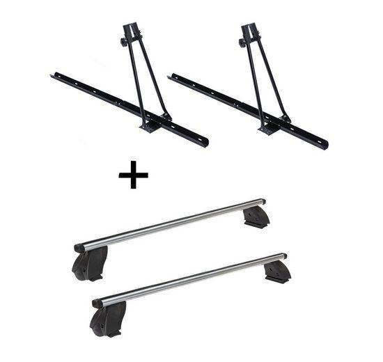 VDP Fahrradträger, 2x Fahrradträger ORION + Dachträger K1 PRO Aluminium kompatibel mit Mercedes A (W176) (5Türer) 13-15