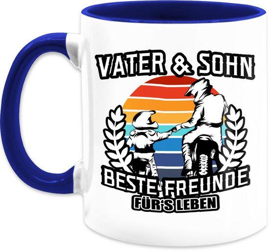 Shirtracer Tasse »Vater und Sohn - Beste Freunde für's Leben Motocross - Vatertagsgeschenk Tasse - Tasse zweifarbig«, Keramik