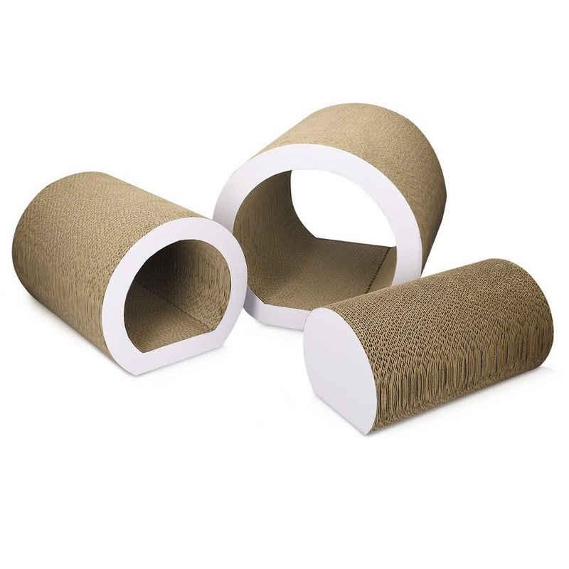 Navaris Kratzpappe, Kratztunnel 3er Set - Kratzbrett aus Pappe für Katzen - Katzentunnel Katzenspielzeug Kratzmöbel aus Karton - Kratzkarton