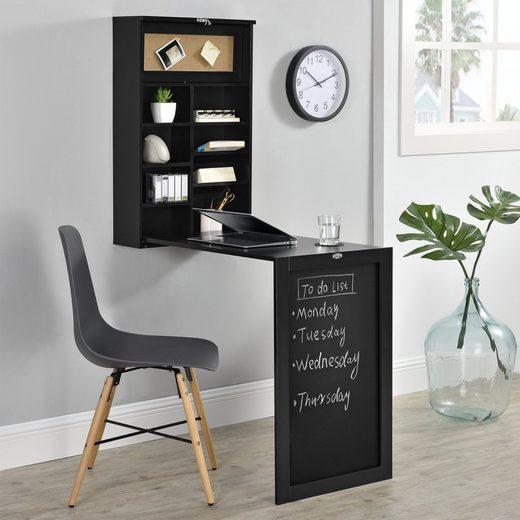 en.casa Wandregaltisch, Ausklappbarer Schreibtisch [Schwarz] - Mit Regal, Pinnwand & Tafel