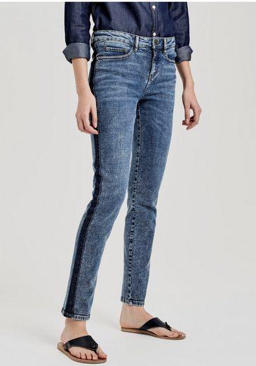 OPUS Skinny-fit-Jeans »Evita dark blue« mit seitlichem Waschstreifen