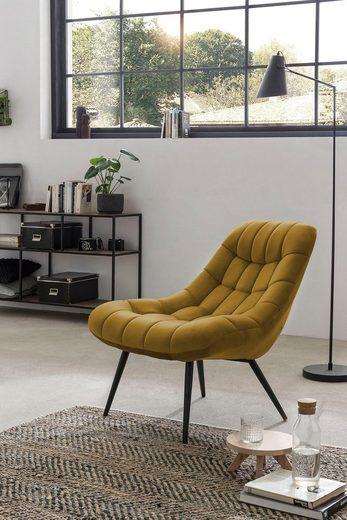 SalesFever Relaxsessel, mit XXL-Steppung, mit schwarzen oder naturfarbenen Beinen