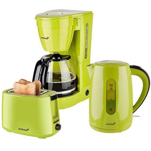 KORONA Toaster Frühstücksset / Küchenset, 3er Set, 12 Tassen Filterkaffemaschine, 2-Scheiben Toaster (2-Schlitz-Toaster), 1,7 L Wasserkocher, Ideal geeignet für Küche, Büro, Ferienwohnung, Ferienhaus, grün (10118, 20133, 21133)