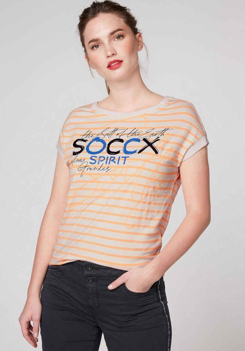 SOCCX T-Shirt mit U-Boot-Ausschnitt tollem Print