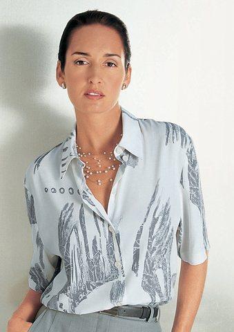 Création L Bluse mit Schulterpolster in weiß-grau