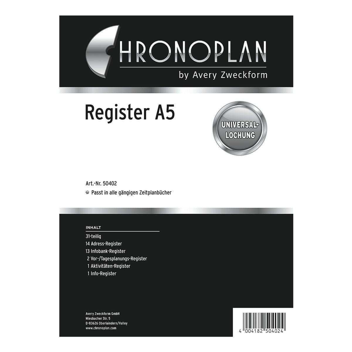 CHRONOPLAN Kunststoffregister