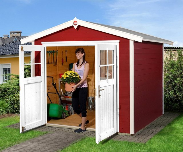 OBI Holz-Gartenhaus Monza B Schwedenrot-Weiß 205 cm x 209 cm