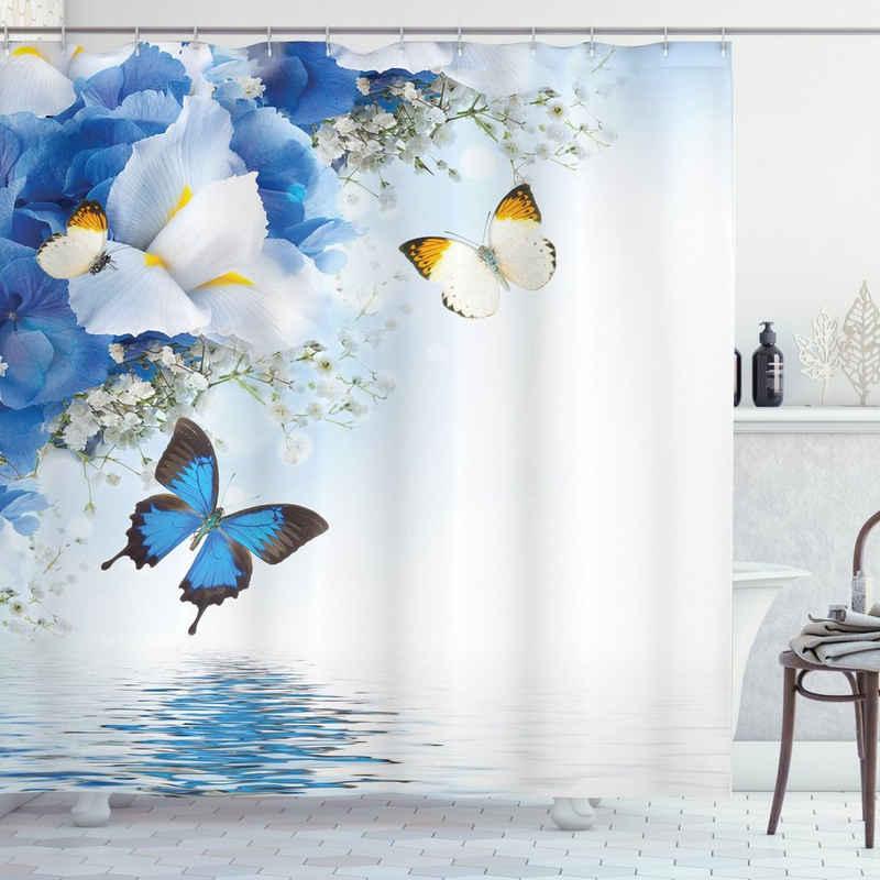 Abakuhaus Duschvorhang »Moderner Digitaldruck mit 12 Haken auf Stoff Wasser Resistent« Breite 175 cm, Höhe 180 cm, Schmetterlinge Exotische Blumen Teich