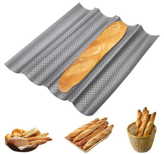 Homewit Baguetteblech »37,8 x 32 x 3 cm Brot Backform, 4 Brotrillen«, Kohlenstoffstahl, (1, 1-St., mit 4 Brotrillen, Bestehend aus Kohlenstoffstahl und Antihaftbeschichtung), Korrosions- und Rostschutz, Langzeitanwendung