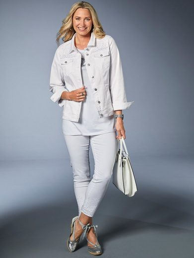MIAMODA Jeans mit Dekosteinen am Saum