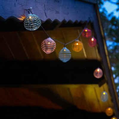 MARELIDA LED-Lichterkette »LED Solar Lichterkette bunte Spiralkugeln 10 warmweiße LED Lichtsensor f. Außen«, 10-flammig