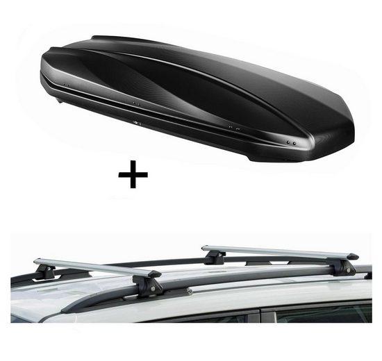 VDP Fahrradträger, DACHBOX STRIKE 440 Liter schwarz matt + Relingträger CRV135 kompatibel mit Seat Leon III SW ab 14