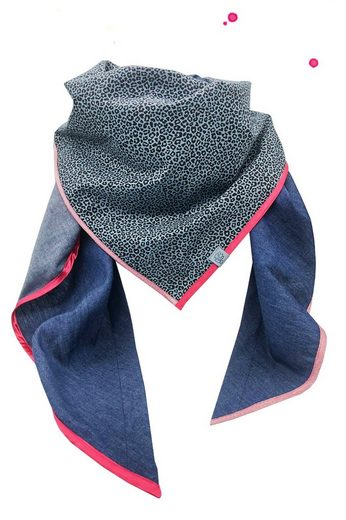 Wishproject® Dreieckstuch »Damen XXL-Tuch, Wild & Funky, Leo Blau« Made in Germany, Label aus recyceltem Meeresplastik, Fair Wear, hochwertige Ausführung