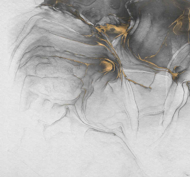 Komar Fototapete »Vliestapete Ink Gold Flow«, glatt, bedruckt, Steinoptik, realistisch, 300 x 280 cm