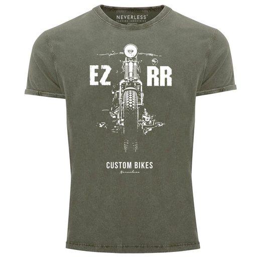 Neverless Print-Shirt »Cooles Angesagtes Herren T-Shirt Vintage Shirt Biker Motorrad Chopper Motiv Aufdruck Used Look Slim Fit Neverless®« mit Print
