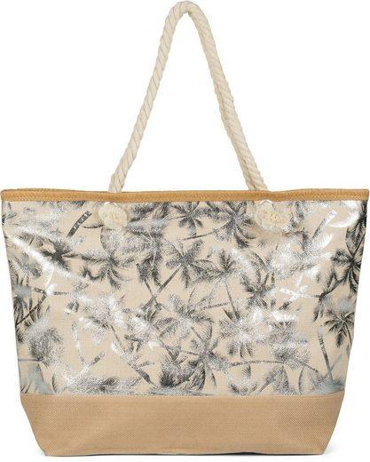 styleBREAKER Strandtasche, Strandtasche mit metallic Palmen
