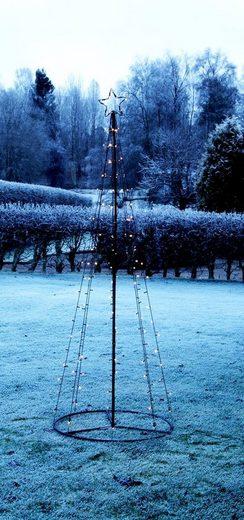 "STAR TRADING LED Baum »LED Lichterbaum ""Light Tree"" - 170 warmweiße LED - 17 funkelnde LED - H. 210cm - outdoor - schwarz«"