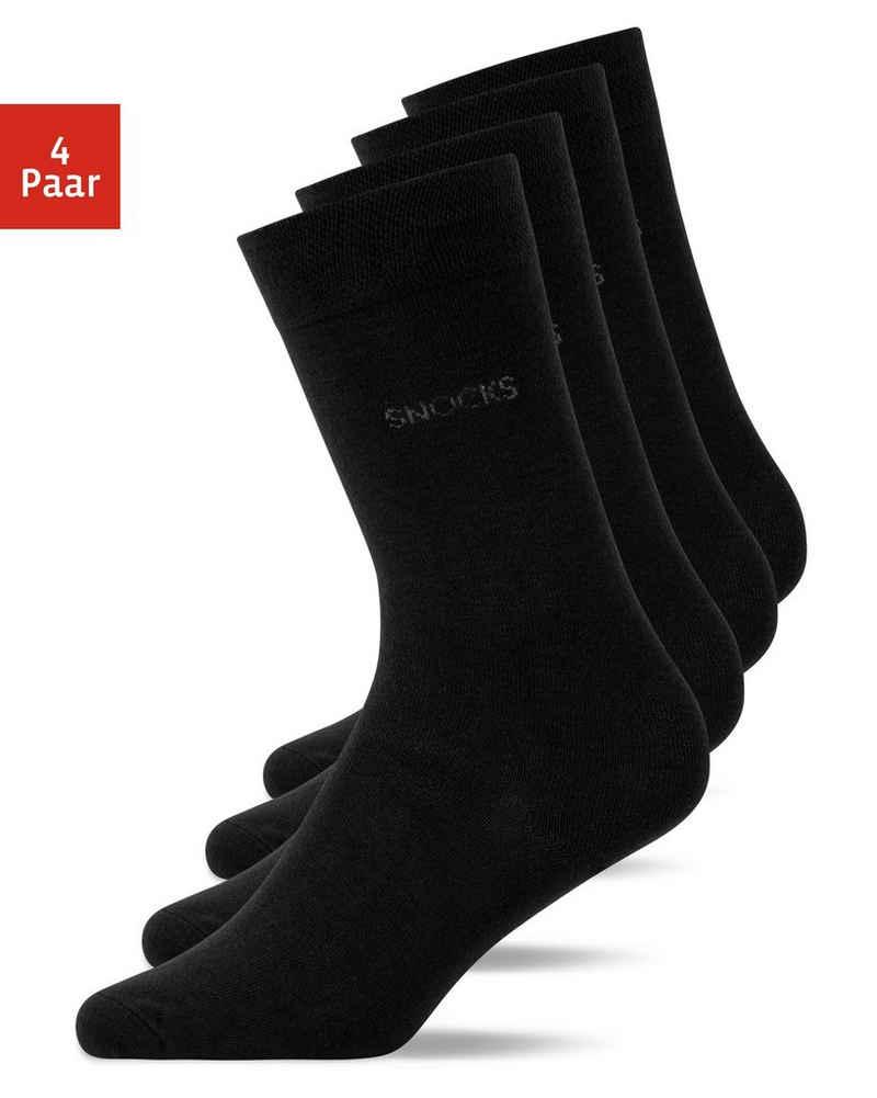 SNOCKS Businesssocken »Business Socken« (4-Paar) aus Bio-Baumwolle, ohne störende Naht