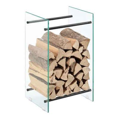 en.casa Kaminholzregal, »Oshawa« Brennholzregal Holzhalter aus Glas in verschiedenen Größen
