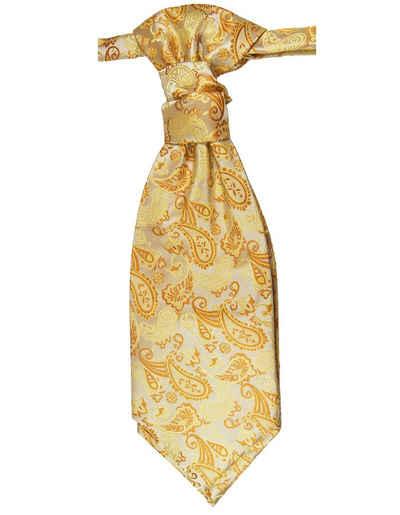 Paul Malone Krawatte »Elegantes Herren Plastron paisley Hochzeitskrawatte - vorgebunden - Bräutigam Hochzeitsmode« gold orange v16