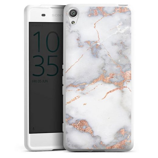 DeinDesign Handyhülle »White and golden marble look« Sony Xperia XA, Hülle Gold Marmor Glitter
