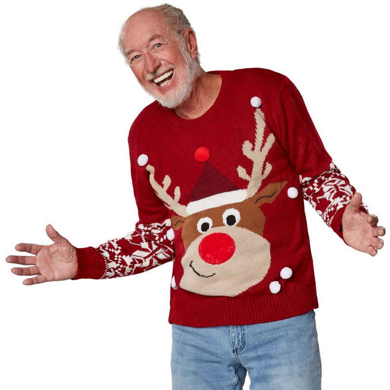 dressforfun Norwegerpullover »Weihnachtspullover Rudi Rentier« (1-tlg)