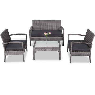 Casaria Loungeset, Poly Rattan Lounge Set 5cm dicke Auflagen 2 Gartensessel Bank Gartentisch Wetterfest Sitzgruppe Balkon Garten Grau