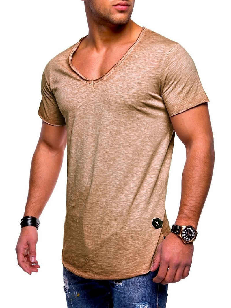 behype T-Shirt »NUKE« mit V-Ausschnitt