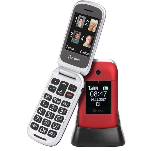 OLYMPIA OFFICE Janus Großtasten-Mobiltelefon Seniorenhandy (Senioren-Mobiltelefon, Großtastenhandy, Klapphandy, Dual Display, große Tasten, SOS Funktion, rot - 2218)