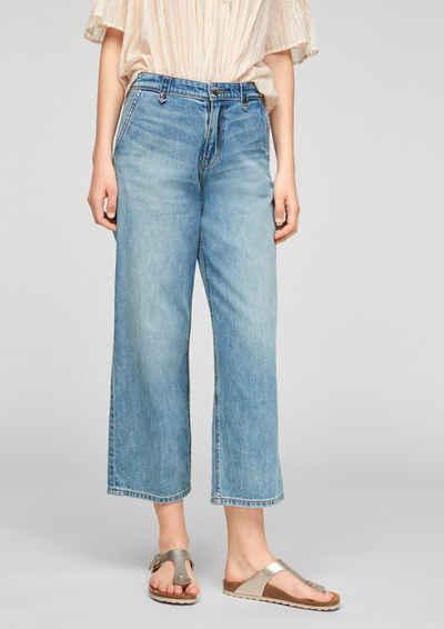 s.Oliver 7/8-Jeans »Regular Fit: Culotte aus Jeans« Leder-Patch
