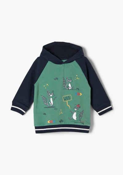s.Oliver Sweatshirt »Hoodie mit Waschbär-Motiven« (1-tlg) Rippblende, Streifen-Detail