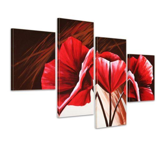Bilderdepot24 Wandbild, Blume M4 - Leinwandbild 4 teilig 120x80cm Handgemalt