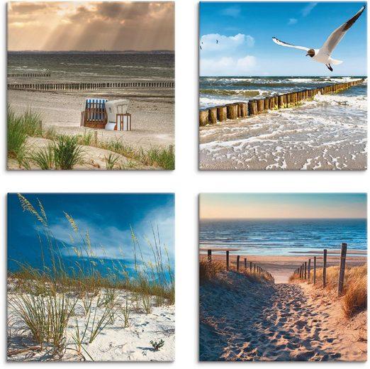 Artland Leinwandbild »Einsamer Strand Ostsee Sanddüne Gräser«, Strand (4 Stück)