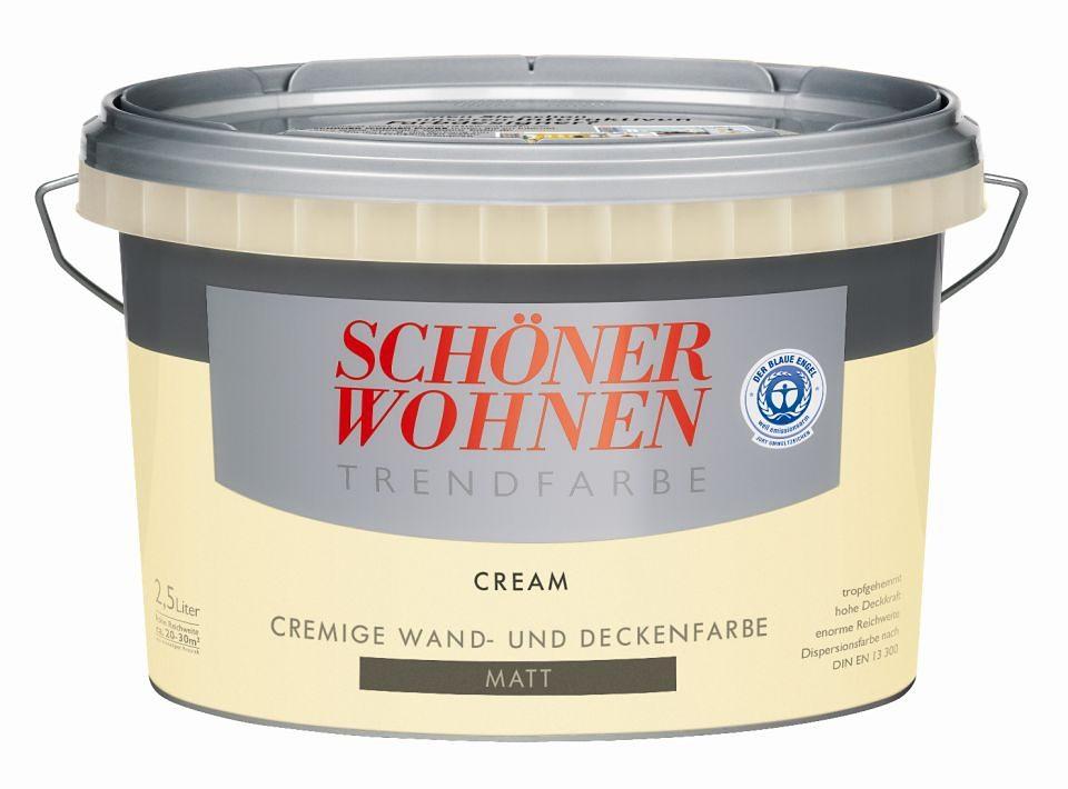 SCHÖNER WOHNEN FARBE Wand- und Deckenfarbe »Trendfarbe Cream, seidenglänzend«, 2,5 l