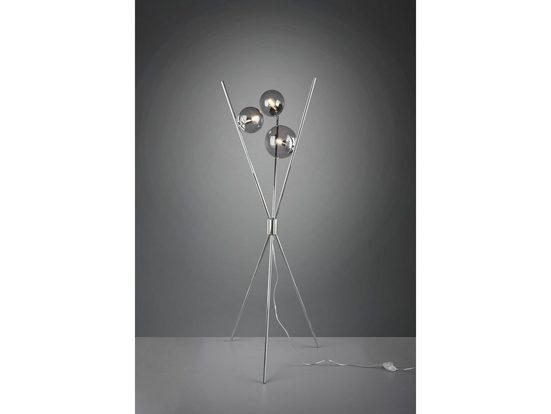 TRIO LED Stehlampe, Tripod Standleuchte mit 3 Glaskugel coole Rauch-Glas Kugel-Lampe mehrflammig für Wohnzimmer, Schlafzimmer, schöne Dreibein Stativlampe mit Glasschirm