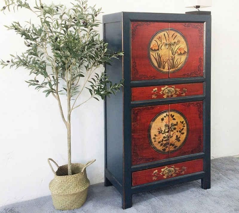 OPIUM OUTLET Kleiderschrank »Hochzeitsschrank chinesisch Vintage Schrank asiatischer Hochschrank orientalische Kommode rot-schwarz« Breite 80 cm; Höhe 154 cm; Tiefe 42 cm
