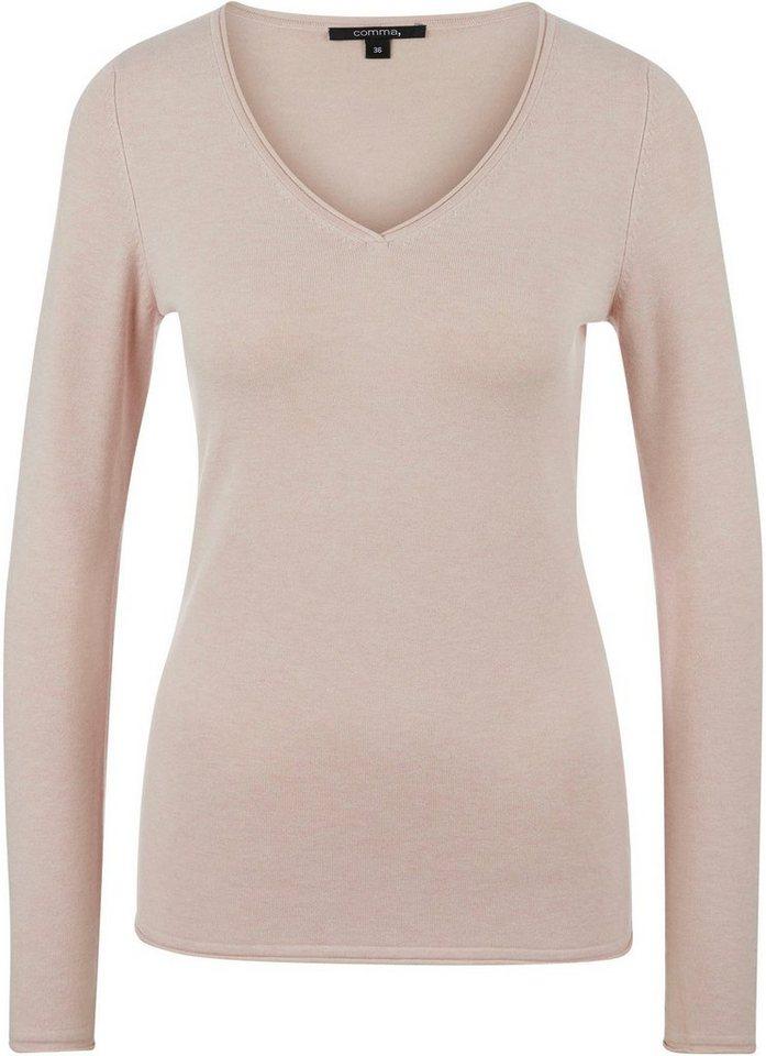 comma -  V-Ausschnitt-Pullover aus softem Viskose-Mix