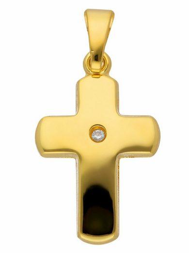 Adelia´s Kettenanhänger »585 Gold Kreuz Anhänger mit Diamant«, Goldschmuck für Damen & Herren