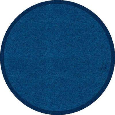 Fußmatte »Fußmatte rund uni dunkelblau Sauberlaufmatte Schmutzfangmatte Türvorleger Eingangsmatte«, Akzente, rund, Höhe 0 mm, waschbar bei 30°