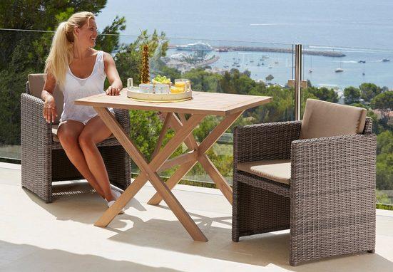 MERXX Gartenmöbelset »Piemont«, 5-tlg., 2 Sessel, Tisch 100x70 cm,Polyrattan/Akazie, braun