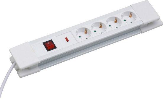 meister Steckdosenleiste 4-fach (Ein- / Ausschalter, Schalterbeleuchtung, Kindersicherung, Überspannungsschutz, kabellänge 2 m)