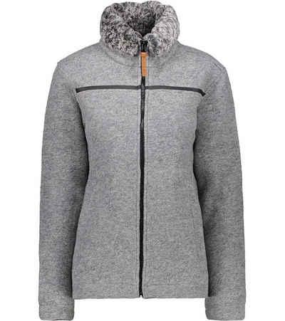 CAMPAGNOLO Fleecejacke »Campagnolo Fleece Tech Wander-Jacke wärmende Damen Fleece-Jacke mit weich gefüttertem Kragen Herbst-Jacke Hell-Grau«