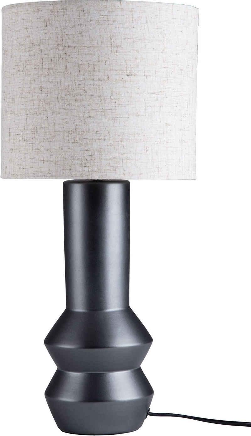 LeGer Home by Lena Gercke Tischleuchte »Ylvi«, ausgefallene Leuchtenfußform aus Keramik mit Textilschirm