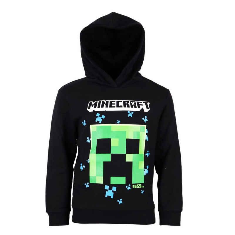 Minecraft Kapuzenpullover »Creeper Kinder Hoodie in Schwarz« Gr. 116 bis 152